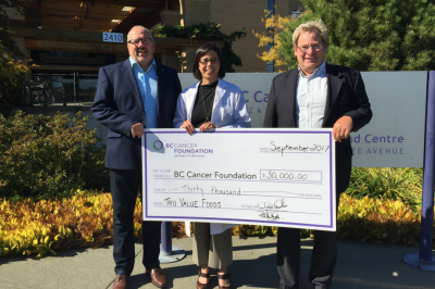 Phil & Dean present a cheque to Dr. Elaine Wai, Head of Radiology at the BC Cancer Centre