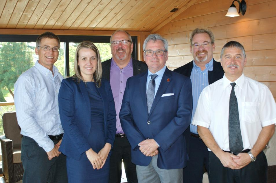 Left to right: Dr. Brad Nelson, BC Cancer Agency; Sonia Edwards, Investors Group; Phil Greenhalgh, Tru Value Foods; Bruce Williams, CTV; Dean Clarke, Tru Value Foods; Darcy Manners, Tru Value Foods