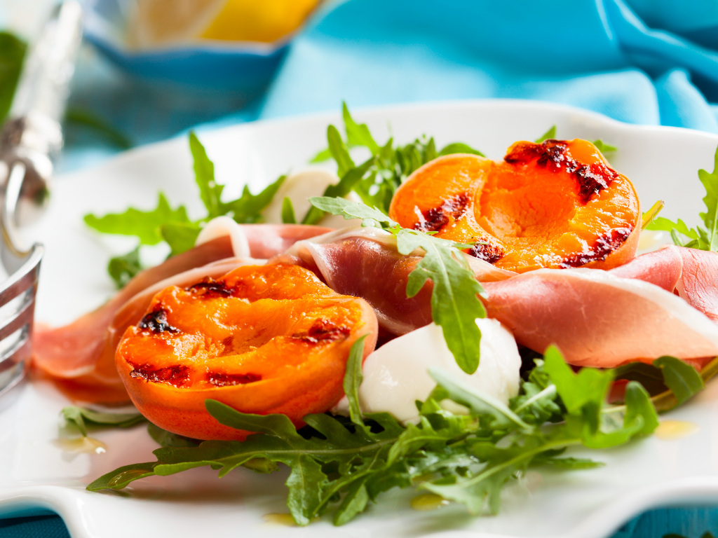 Grilled Apricots With Bocconcini, Prosciutto & Basil